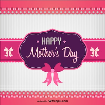 Pink and purple mother's day card with bows