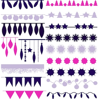 Pink and purple ornamental elements