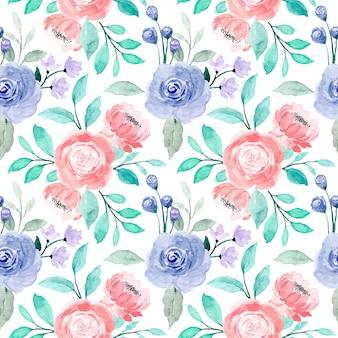ピンクの紫色のバラ花の水彩画のシームレスなパターンと緑の葉