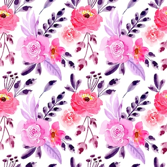 Pink purple seamless pattern with watercolor floral