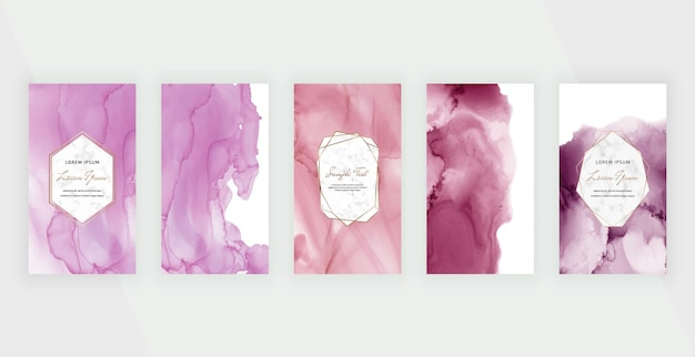 Pink and purple watercolor alcohol ink backgrounds for social media stories banners