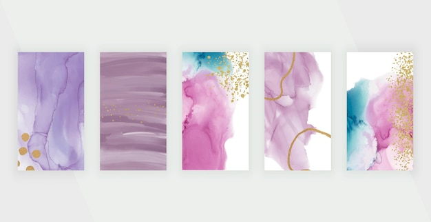 Pink and purple watercolor alcohol ink backgrounds with glitter confetti for instagram story