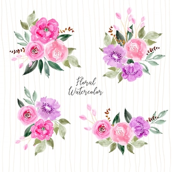 Pink and purple watercolor flower arrangement collection