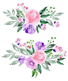Розовый фиолетовый акварель цветочная композиция