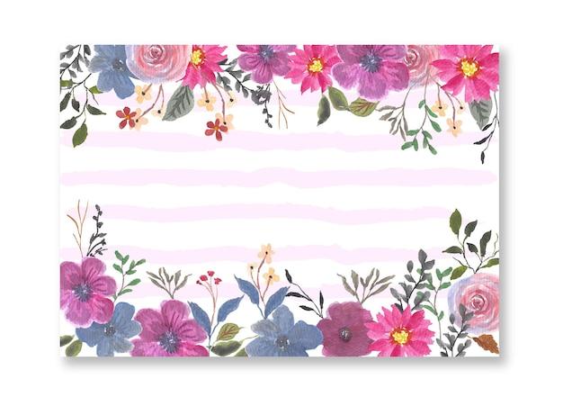 ピンクパープル水彩花ボーダー