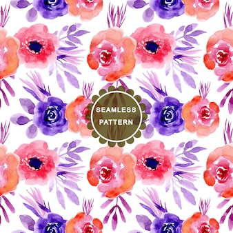 Pink purple watercolor flower seamless pattern