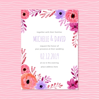 Pink purple wedding invitation with watercolor floral