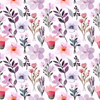 Pink purple wild flower watercolor seamless pattern
