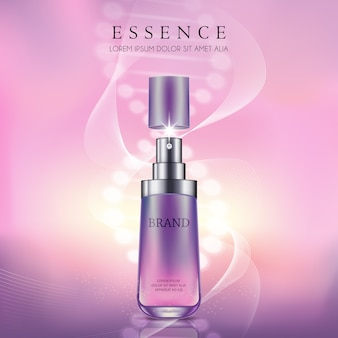 Pink and purple with essence cosmetic premium products on light background.