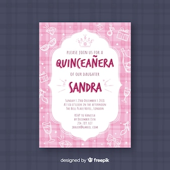 Pink quinceañera  party invitation with jewelry