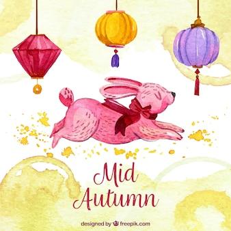Pink rabbit, mid autumn festival