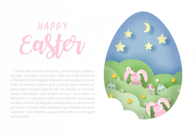 Pink rabbits playing hide and seek at giant egg hole shape with pink happy easter and text on white, template