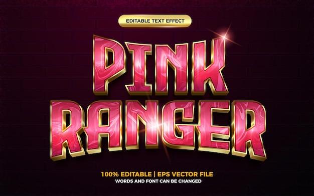 Pink ranger gold 3d cartoon hero editable text effect