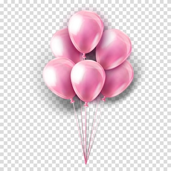 Pink realistic collection of balloons on transparent. party decoration for festival, birthday, anniversary, baby girl shower or celebration.