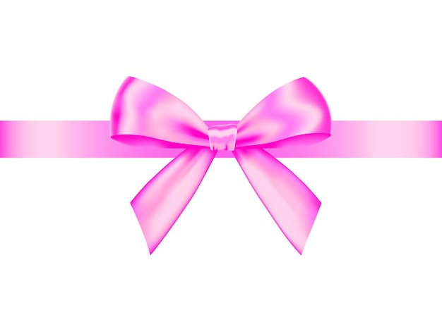 Pink  realistic gift bow with horizontal  ribbon isolated on white background. vector holiday design element  for banner, greeting card, poster.