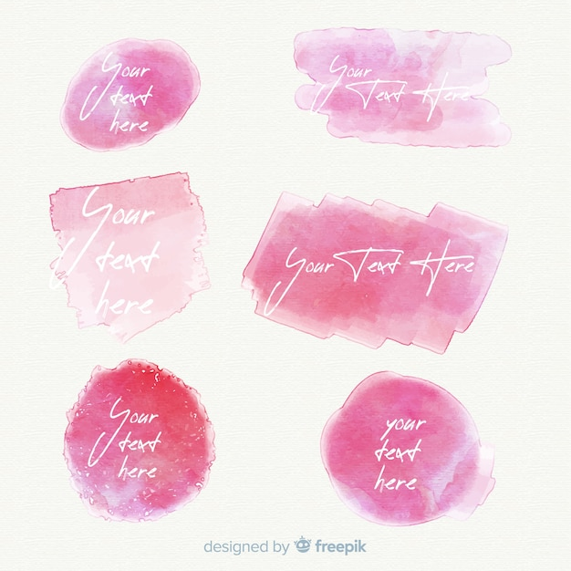 Pink realistic watercolor stain collection