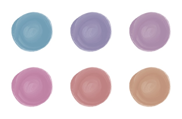 Pink, red, blue, purple watercolor round brush stroke shapes