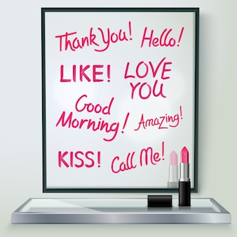 Pink red glossy lipstick words of love and affection in black frame