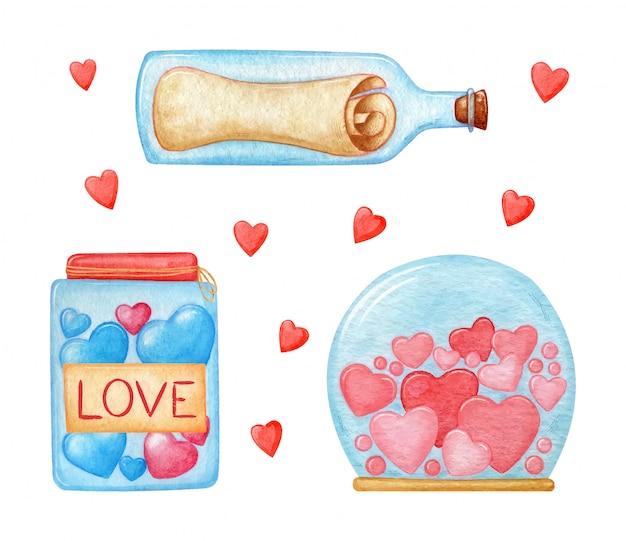 Pink and red hearts, bottle with a secret letter, jar with candy and love. watercolor collection of valentines day elements.