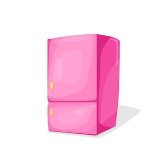 ピンクの冷蔵庫漫画風のベクトル図