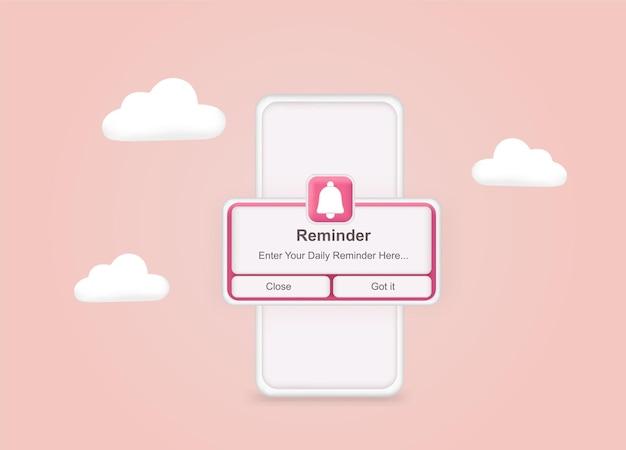 Pink reminder in 3d design mockup on phone notifications web banner concept web design website
