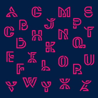 핑크 복고풍 알파벳 벡터 세트