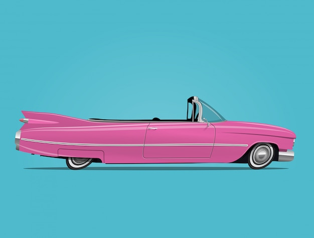 Pink retro car cabriolet illustration