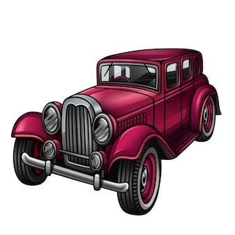 Pink retro car isolatedwhite