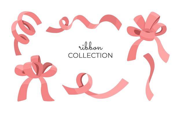 핑크 리본과 활 세트, 발렌타인 데이를위한 귀여운 로맨틱 장식