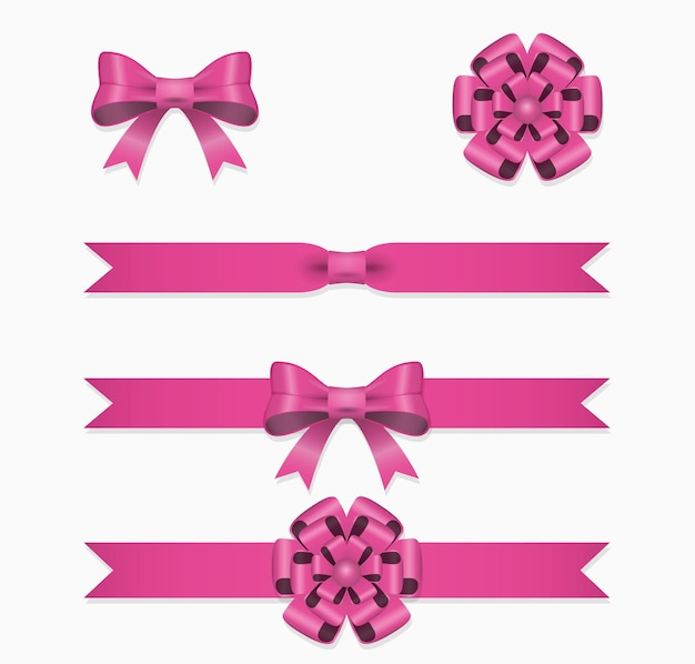 핑크 리본과 활 선물 상자에 대 한 설정.