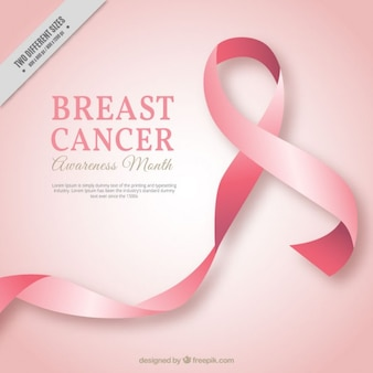 Pink ribbon background of breast cancer