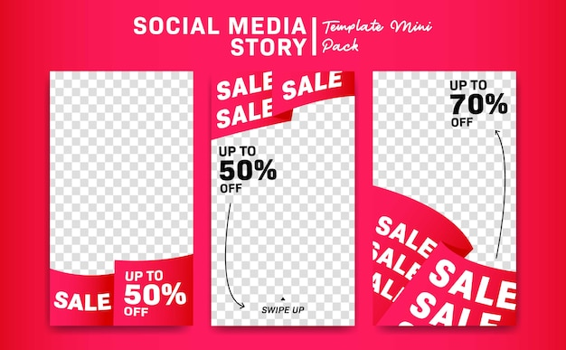 Pink ribbon banner social media instagram story discount promotion sale template