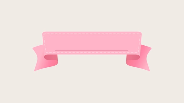 Vettore dell'insegna del nastro rosa, progettazione grafica piana dell'etichetta decorativa