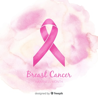 Pink ribbon of breast cancer awareness in a watercolour style