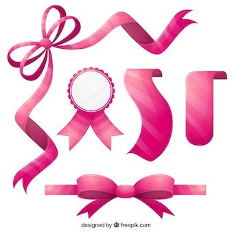 平らなピンクのリボンコレクション