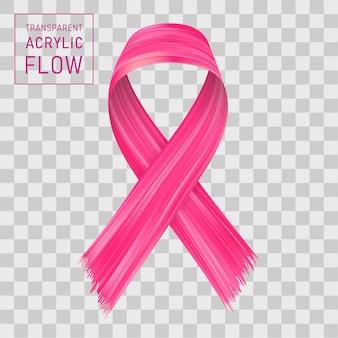 Розовая лента течет. знак борьбы с раком.
