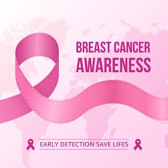 Розовая лента для месяца осведомленности о раке груди