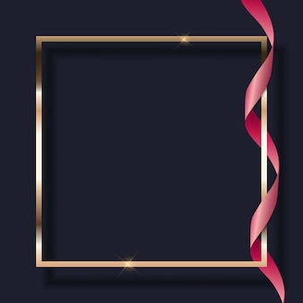Pink ribbon and golden frame on dark background.