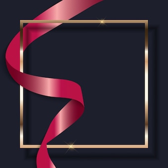 Pink ribbon and golden frame on dark.