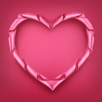 Pink ribbon heart shaped frame template.