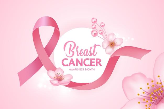 Розовая лента на розовом фоне иллюстрации осведомленности рака груди.