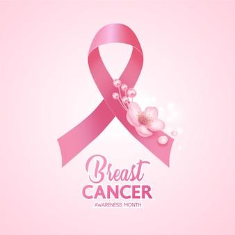 유방암 인식 그림의 분홍색 배경에 핑크 리본.
