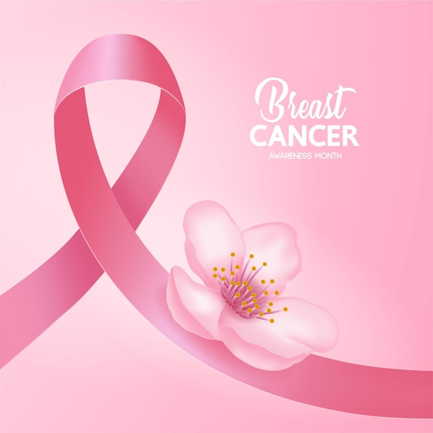 Pink ribbon on pink background of breast cancer awareness  illustration.