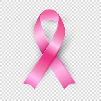 Pink ribbon, realistic 3d vector, breast cancer awareness