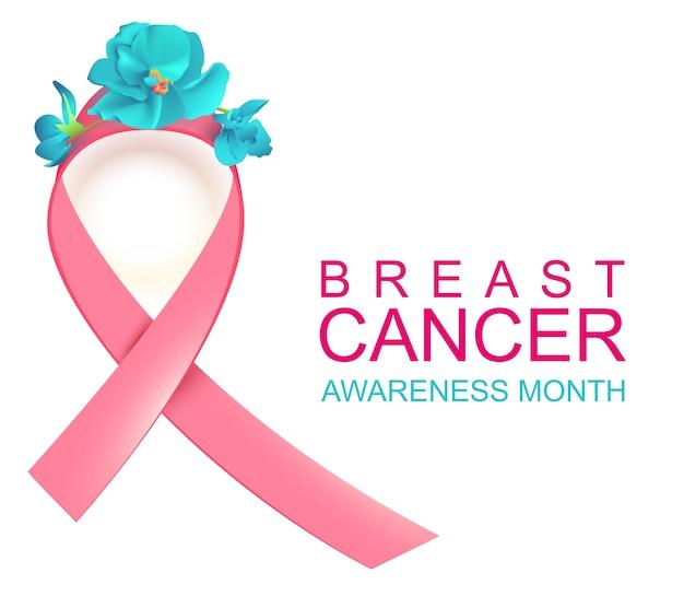 ピンクリボンのシンボル全国乳がん啓発月間。白いイラストで隔離