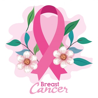 Pink ribbon, symbol of world breast cancer awareness month in october, with flowers and leaves decoration