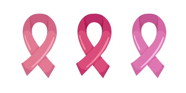 Pink ribbon of three different shades of pink. symbol of october breast cancer awareness month,  .  illustration  on white