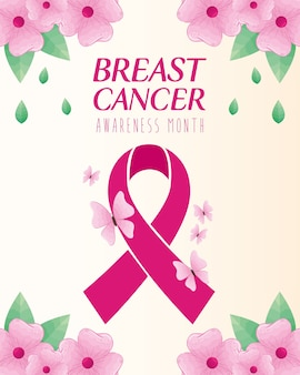 Pink ribbon with butterflies and flowers of breast cancer awareness design, campaign and prevention theme