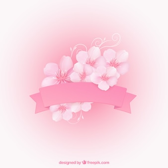 Pink ribbon with cherry blossoms