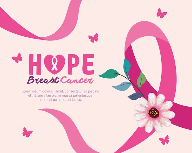 Pink ribbon with flower of hope breast cancer awareness design, campaign and prevention theme